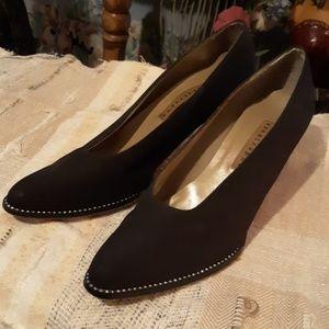Apostrophe black satin rhinestone heel